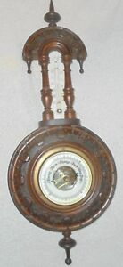 Antique carved walnut thermometer barometer