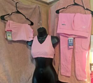 Under Armour Women's Sports Bra Shorts Leggings Baby Pink Medium New with Tags