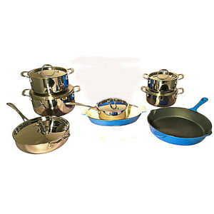 Le Chef 14-Piece Multi-Purpose Cookware Set, France Blue and Silver.