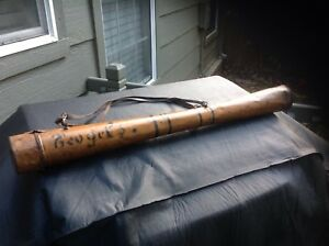 SUPER RARE FOLK ART PRIMITIVE HAND MADE PAINTED TIN  FLY FISHING ROD CASE WOW
