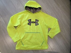 Under Armour Storm Boys Camo Hoodie Sweatshirt Coldgear Yellow YXL