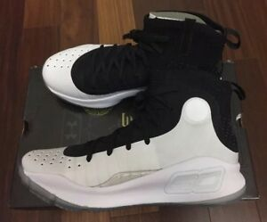 NEW Under Armour Curry 4 Mens Size 8.5 Steph Warriors White Black UA Basketball