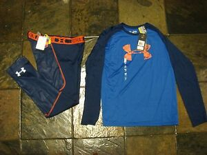 Boy's Under Armour Pants and Shirt nwt orig $74.98. size youth XL set