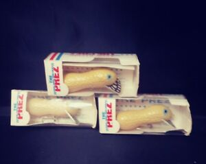 SET OF 3 VINTAGE COTTON CORDELL THE PREZ PEANUT FISHING LURES NEW IN BOX