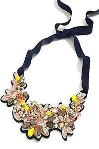JCREW BOTANICAL EMBROIDERED CRYSTAL BIB NECKLACE---NEW WITH TAG--SRP $138