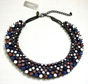 NWT $89 Chico's Willa Bib Necklace Purple  Multi Crystal Stones AWESOME!!
