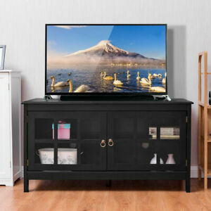 "50"" TV Stand Modern Wood Storage Console Entertainment Center w 2 Doors Black"