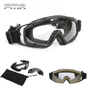 FMA w 2 Lens Tactical Ballistic Goggle Glasses for Helmet with Side Rails Army