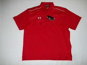 UNDER ARMOUR GOLF ColdBlack Red Polo Shirt mens Size L  LARGE $64.99  NEW