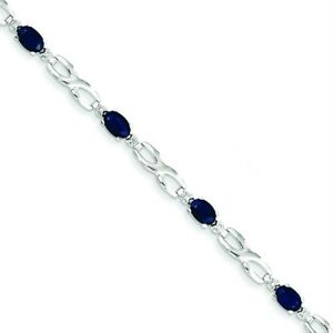 14K White Gold Genuine Sapphire & 0.005ct Diamond Infinity Link 7