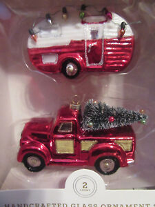 Pick Up Truck Airstream Camper Camping Trailer Collectible Glass Ornaments NEW