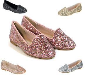 New youth Kid Girls Glitter Sequin Slip On Shoes Ballerina Party Flats 5 Colors $11.95