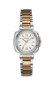 Bulova Women's 98R206 Quartz Diamond Accents Two-Tone Bracelet 26mm Watch