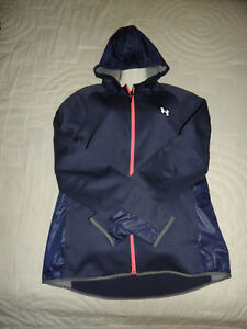 Under Armour Women's Cold Gear Navy Blue Loose Storm Hoodie Jacket Size XL NWT