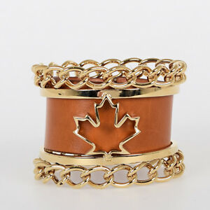 DSQUARED2 D2 Nw Woman Brown Gold Leather Metal Cuff Bracelet Jewelry $484 Armlet