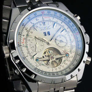 Men#x27;s Stainless Steel Watch Mechanical Tourbillon White Sub Dial Date Luxury