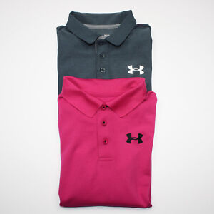 Under Armour Boys Youth Large Golf Polo Shirts Lot of 2 Dark Pink Dark Gray YL
