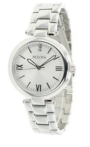 Bulova Women's Quartz 96P151 Crystal Accent Silver-Tone Bracelet 30mm Watch