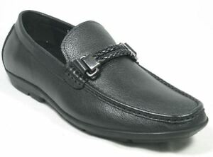 Mario Samello Designer Collection Mens Black Leather Loafer Dress Shoes Size 39.