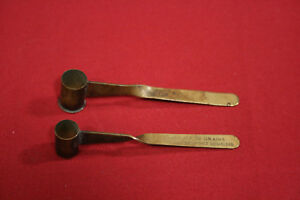 2x Vintage Brass Powder Dippers - DuPont and Laflin & Rand marked 30gr and 40gr