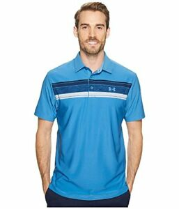 New Under Armour XL Polo Shirt Blue with stripes Heat Gear golf extra large UA $44.90