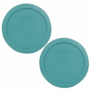 Pyrex 7201-PC 4 Cup Round Plastic Turquoise Replacement Lid for Glass Bowl 2PK