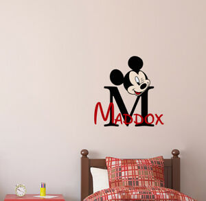 Custom Name Mickey Mouse Full Color Vinyl Sticker Boys Name Nursery Decor aa539