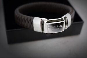 Mens Personalised Leather Bracelet - ANY ENGRAVING - Various Sizes and colours