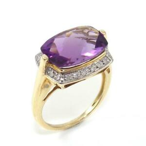 10K Yellow Gold Purple Amethyst Diamond Accent Ring Size 7.5