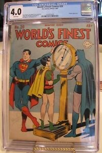World's Finest #20 Winter 1945CGC 4.0 Universal Blue Label WHITE pages