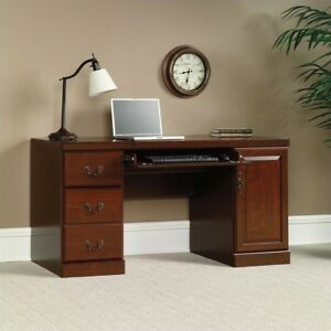 Computer Credenza Desk Classic Cherry Keyboard Tray Drawers Rectangle Office New