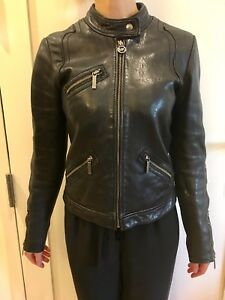 Michael Kors Women XS Black Genuine Soft Leather Bomber Moto Jacket with Zippers