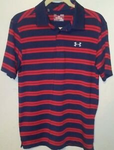 Under Armour men polo golf polo Heat Gear Striped Loose fit S blue short sleeve