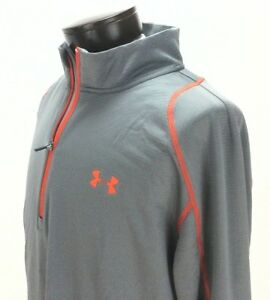 Under Armour 1248937 Mens Fitted Cold Gear Infrared 14 Zip Mock Gray XXL New