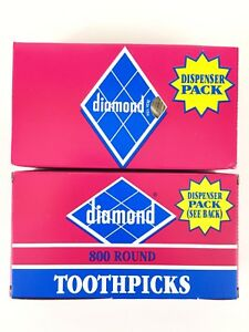 2 - 800 Diamond  Wooden Round  Toothpicks Pointed Ends Dispenser Pack 2.5