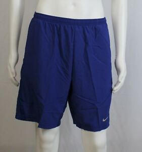 Nike Dri-Fit Long Lined Pocketed Running Shorts Men's Size M L XL Royal Blue