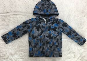 Under Armour Boys Blue Black & Gray Camo Full Zip Hoodie Toddler Size 2T Jacket
