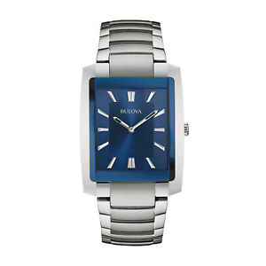 Bulova Classic Men's 96A169 Quartz Blue Dial Rectangle Case 35mm Bracelet Watch