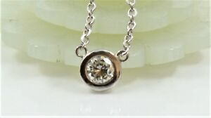 14K White Gold Bezel .29CT NATURAL Round Diamond Solitaire Pendant Necklace 16