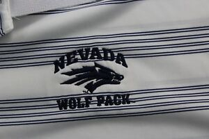 Nike Dri-Fit  Embroidered Nevada Wolf Pack Striped POLO SHIRT Large L