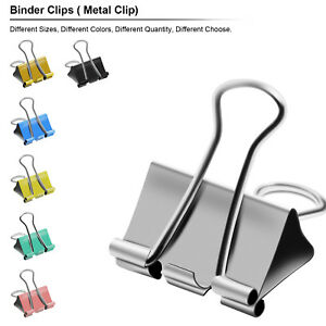 Binder Clips of 3/4 5/4 2 in, Colored paper clamp, Assorted Sizes assortment