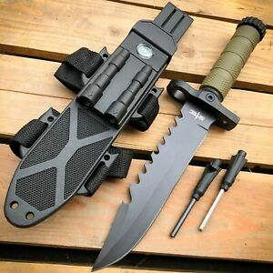 12.5 MILITARY TACTICAL FIXED BLADE Hunting Army SURVIVAL Knife w Fire Starter $19.95