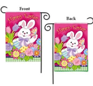 HAPPY EASTER BUNNY with FLOWERS and EGGS 2-SIDED YARD GARDEN FLAG 12