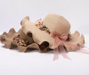 Fashion Sun Visors Brim Bow Knot Waves Flowers Summer Straw Beach Hats For Women