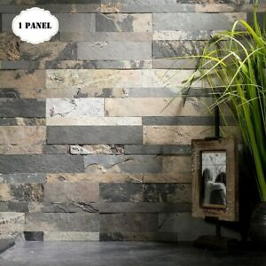 Peel And Stick Tile Self Adhesive Stone Slate Wall Kitchen Backsplash Grey Tan