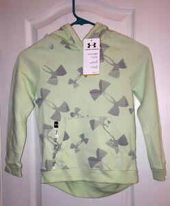 NWT $50 Under Armour Sweatshirt Hoodie Long Sleeve Green Top Girl's Youth YXS XS