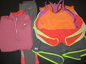 Womens Dri-Fit Nike athletic running shorts zip long sleeves Under Armour