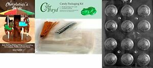 Cybrtrayd Golf Balls 3D Chocolate Mold with Chocolatier's Bundle Includes 50 25