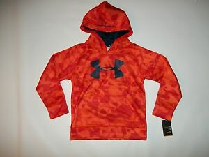 UNDER ARMOUR Youth Boys BIG LOGO Blaze Orange HOODIE Sweatshirt Size 6 rt $42.99