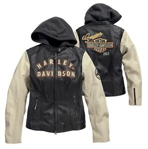 Harley-Davidson® Women's 3-in-1 Leather Motorcycle Jacket Hoodie Coat 98087-15VW